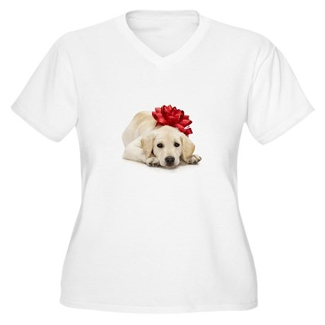 Yellow Lab Puppy Women's Plus Size V-Neck T-Shirt