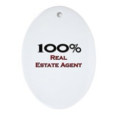 100 Percent Real Estate Agent Oval Ornament