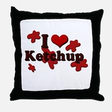 I Love Ketchup Throw Pillow