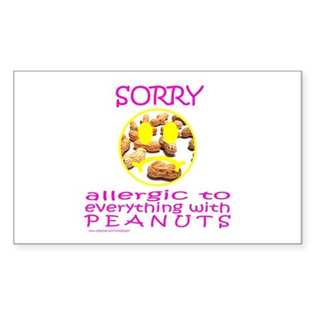 ALLERGIC TO PEANUTS Rectangle Sticker
