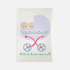 How We Roll Carriage Twins Rectangle Magnet