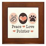 Peace Love Pointer Framed Tile