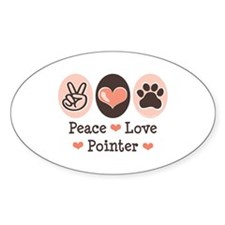 Peace Love Pointer Oval Decal