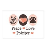 Peace Love Pointer Postcards (Package of 8)