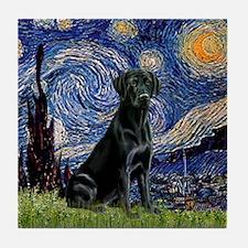 Starry Night Black Lab Tile Coaster