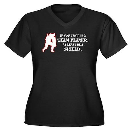Team Player Women's Plus Size V-Neck Dark T-Shirt