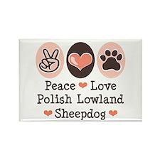 Peace Love Polish Lowland Sheepdog Rectangle Magne