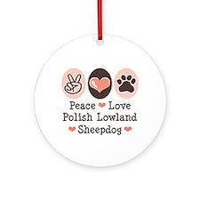 Peace Love Polish Lowland Sheepdog Ornament (Round