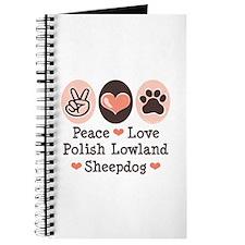 Peace Love Polish Lowland Sheepdog Journal