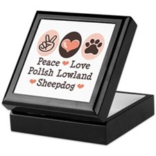 Peace Love Polish Lowland Sheepdog Keepsake Box
