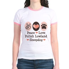 Peace Love Polish Lowland Sheepdog Jr. Ringer T-Sh
