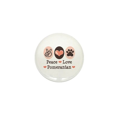Peace Love Pomeranian Mini Button (10 pack)