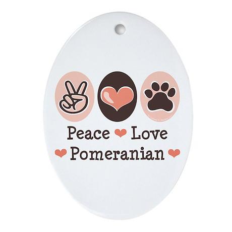 Peace Love Pomeranian Oval Ornament