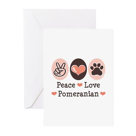 Peace Love Pomeranian Greeting Cards (Pk of 10)