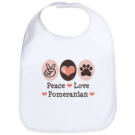 Peace Love Pomeranian Bib