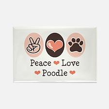 Peace Love Poodle Rectangle Magnet