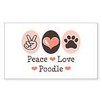 Peace Love Poodle Rectangle Sticker