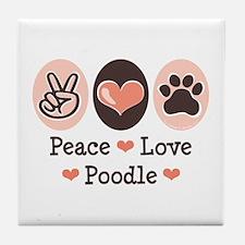 Peace Love Poodle Tile Coaster