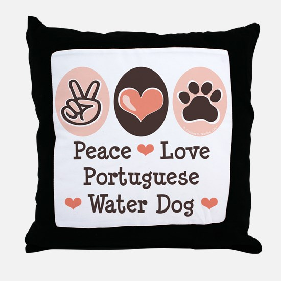 Peace Love Portuguese Water Dog Throw Pillow