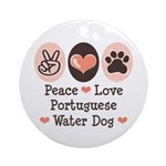 Peace Love Portuguese Water Dog Ornament (Round)