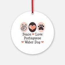 Peace Love Portuguese Water Dog Ornament (Round)