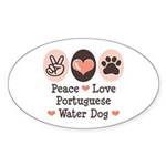 Peace Love Portuguese Water Dog Oval Sticker