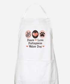 Peace Love Portuguese Water Dog BBQ Apron