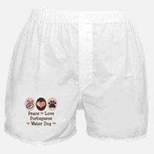 Peace Love Portuguese Water Dog Boxer Shorts