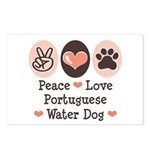 Peace Love Portuguese Water Dog Postcards (Package