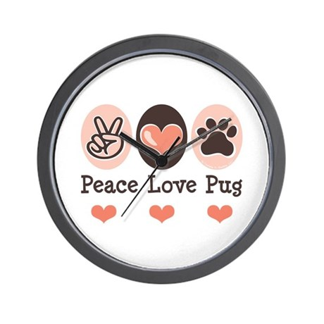 Peace Love Pug Wall Clock