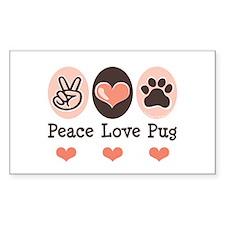 Peace Love Pug Rectangle Decal