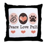 Peace Love Puli Throw Pillow