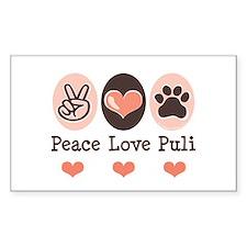 Peace Love Puli Rectangle Decal