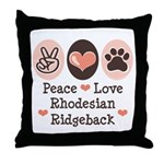 Peace Love Rhodesian Ridgeback Throw Pillow