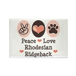 Peace Love Rhodesian Ridgeback Rectangle Magnet (1