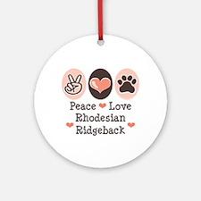 Peace Love Rhodesian Ridgeback Ornament (Round)
