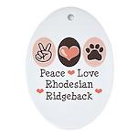 Peace Love Rhodesian Ridgeback Oval Ornament