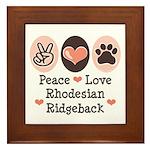 Peace Love Rhodesian Ridgeback Framed Tile