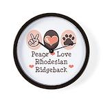 Peace Love Rhodesian Ridgeback Wall Clock