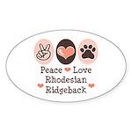 Peace Love Rhodesian Ridgeback Oval Sticker