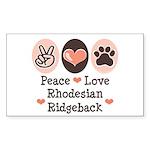 Peace Love Rhodesian Ridgeback Sticker (Rectangula