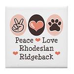 Peace Love Rhodesian Ridgeback Tile Coaster