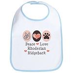 Peace Love Rhodesian Ridgeback Bib