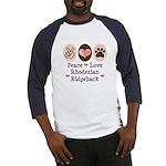 Peace Love Rhodesian Ridgeback Baseball Jersey