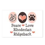 Peace Love Rhodesian Ridgeback Postcards (Package