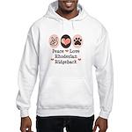 Peace Love Rhodesian Ridgeback Hooded Sweatshirt