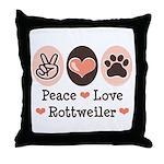 Peace Love Rottweiler Throw Pillow