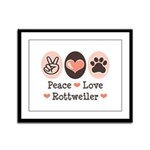 Peace Love Rottweiler Framed Panel Print