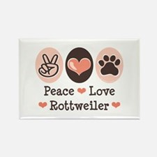 Peace Love Rottweiler Rectangle Magnet