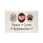 Peace Love Rottweiler Rectangle Magnet (10 pack)
